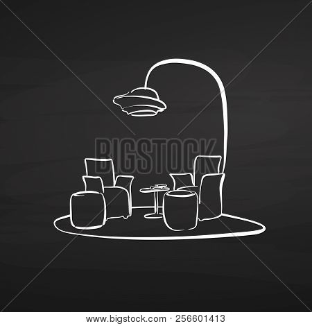 Sitting Area Drawing On Chalkboard. Hand-drawn Vector Sketch. Business Concept Design.