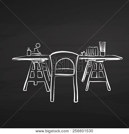 Study Desk Drawing On Chalkboard. Hand-drawn Vector Sketch. Business Concept Design.