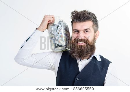 Business, Investment, Finance, Money Saving For Future Concept. Businessman Hold Jar Full Of Money B