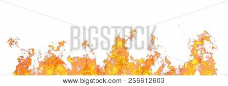 Real Fire Line Flames Isolated On White Background. Mockup Fire Wall.