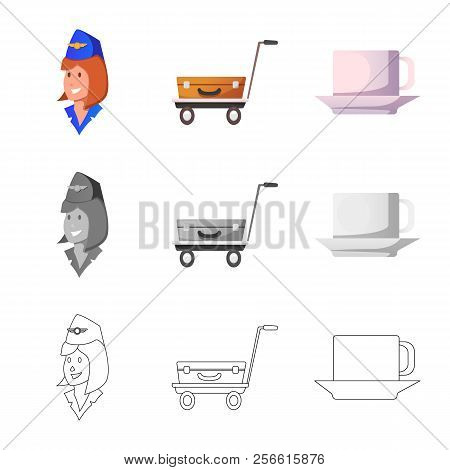 Vector Illustration Of Airport And Airplane Logo. Collection Of Airport And Plane Stock Vector Illus