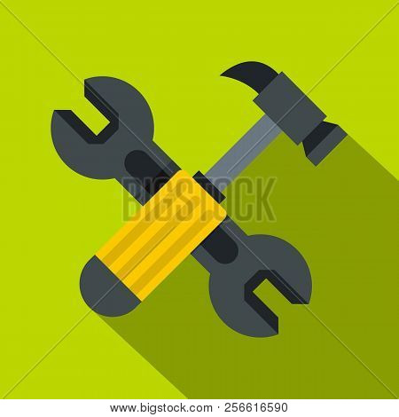 Crossed Wrench And Hammer Icon. Flat Illustration Of Crossed Wrench And Hammer Icon For Web Isolated