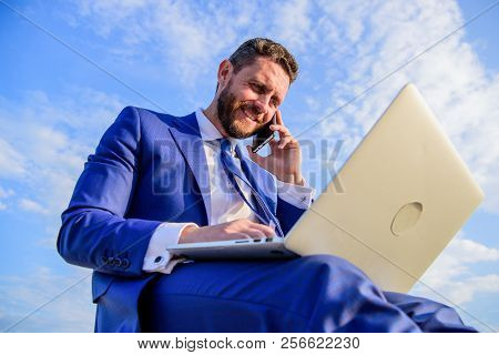 Man Formal Suit Work With Laptop While Speak On Phone. Ultimate Guide To Becoming Sales Leader. Busi