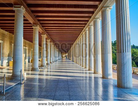 Athens, Greece - July 1, 2018. Porch Of The Stoa Of Attalos Building On The Ancient Agora Of Athens.