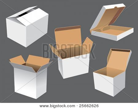 Realistic vector illustration of cardboard shipping boxes.