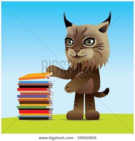 Happy lynx piling up books, image is part of my lynx collection. poster