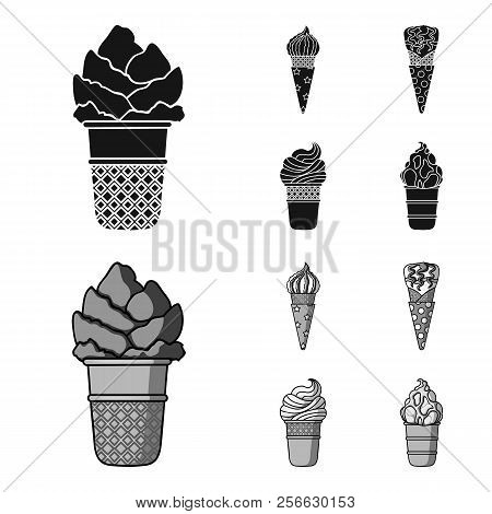 Ice Cream On A Stick, In A Waffle Cone And Other Species. Ice Cream Set Collection Icons In Black, M
