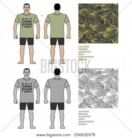Fashion Man Body Full Length Template Figure Silhouette In Shorts And T Shirt (front, Back Views) Wi