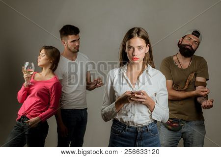 Social Media Today. People Hands Addicted By Mobile Smart Phone. Addicted To Social Networking. Stop