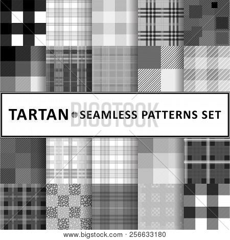 Tartan Seamless Pattern Background Set, Vector Illustration