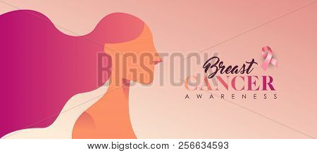 Breast Cancer Awareness Banner Illustration For Love And Support. Beautiful Young Woman With Long Ha