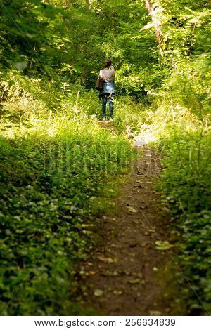 Woman Walking Alone In The Woods In Paris, France.