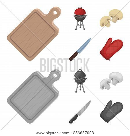 Barbeque Grill, Champignons, Knife, Barbecue Mitten.bbq Set Collection Icons In Cartoon, Monochrome