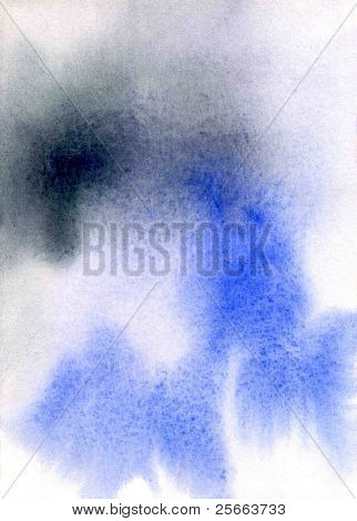 abstract watercolor background: black and blue