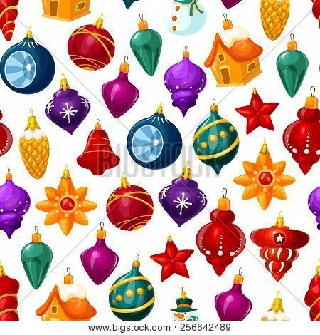 Christmas Decorations Pattern Background. Vector Seamless Cartoon Christmas Tree Glass Ball With Sta