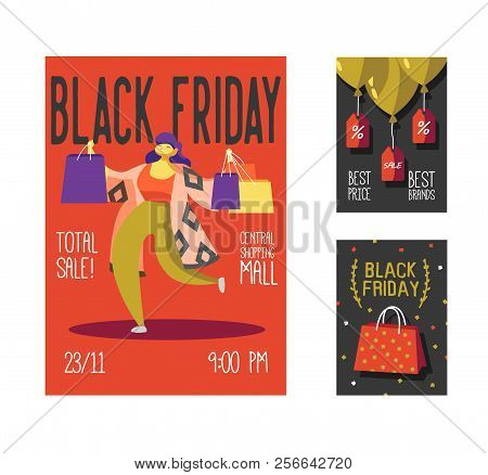 Black Friday Sale Poster, Flyer, Placard. Shop Holiday Promotion Event Brochure With Woman And Shopp