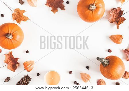 Autumn Composition. Pumpkins, Candles, Dried Leaves On White Background. Autumn, Fall, Halloween Con