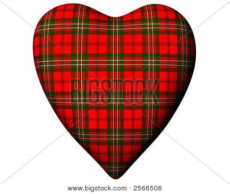 Valentine Red Heart Scottish Scott Tartan Textured Front View