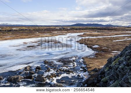 The Beautiful Scenic River At Thingvellir National Park In Iceland