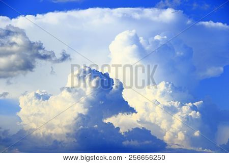 Big White Clouds On Blue Sky. Heaven View