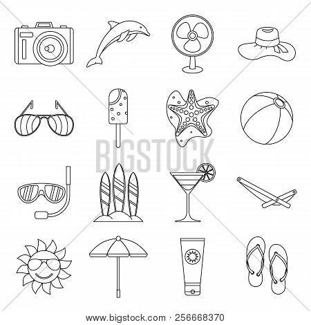 Summer Rest Icons Set. Outline Illustration Of 16 Summer Rest Icons For Web