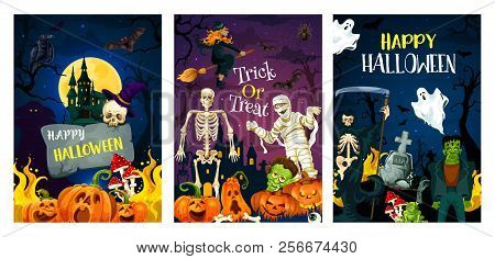 Halloween Holiday Horror Night Party Invitation Banner. Spooky Witch, Bat And Ghost, Skeleton, Pumpk