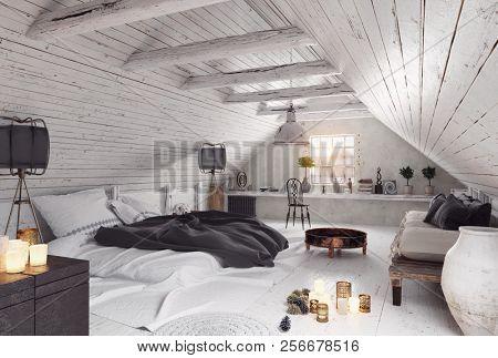 modern attic bedroom design. 3d rendering interior concept
