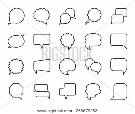 Speech Bubble Thin Line Icon Set. Outline Web Sign Of Comic Tell. Communication Chat Linear Customer
