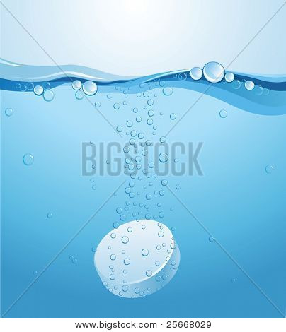 effervescent tablet under the water