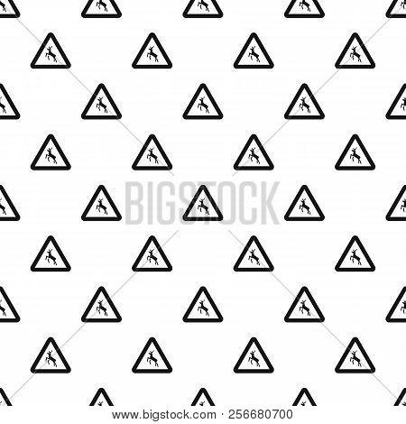 Sign Caution Deer Pattern. Simple Illustration Of Sign Caution Deer Pattern For Web