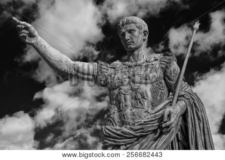 Caesar Augustus, The First Emperor Of Ancient Rome. Bronze Monumental Statue In The Center Of Rome,