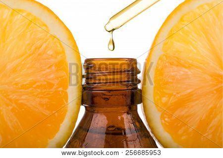 Essential Oil With Orange - Vitamin C. Natural Remedies, Drop Vitamin C - Dropper.