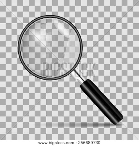 Metal Magnifier For Office Concepts. Realistic Magnifying Glass On A Transparent Background.