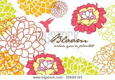 Grußkarte Design mit Blumen Hintergrund