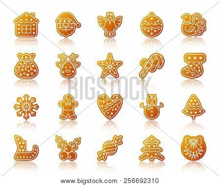 Christmas Gingerbread Icons Set With Reflection. Sign Kit Of Xmas Cookie. Sweet Food Vector Pictogra