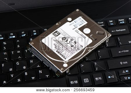 Gimpo-si, Korea - July 10, 2018: 2.5-inch Sata Hard Disk Drive (hdd), A Storage Device Theat Uses Ma