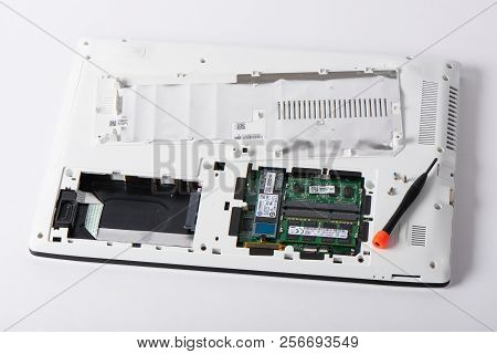 Gimpo-si, Korea - July 10, 2018: Access Panel With Ddr3l Ram And M.2 Sata Ssd On The Bottom Of A Lap