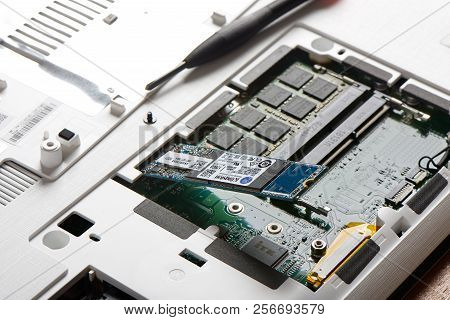 Gimpo-si, Korea - July 10, 2018: Closeup Of Sata Type Ssd(solid-state Drive) Connected To M.2 Slot O