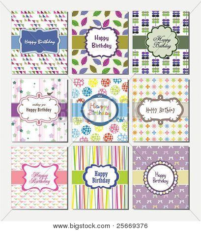 set of birthday cards design