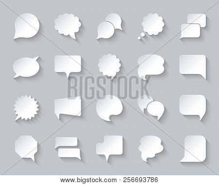 Speech Bubble Paper Cut Icons Set. 3d Web Sign Kit Of Comic Tell. Chat Pictograms Includes Dialog, T