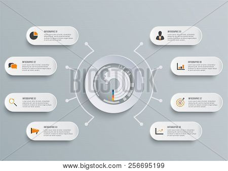 Vector Infographic Template With 3d Paper Label, Integrated Circles. Business Concept With 8 Options
