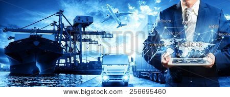 Businessman Is Pressing Button On Touch Screen Interface In Front Logistics Industrial Container Car