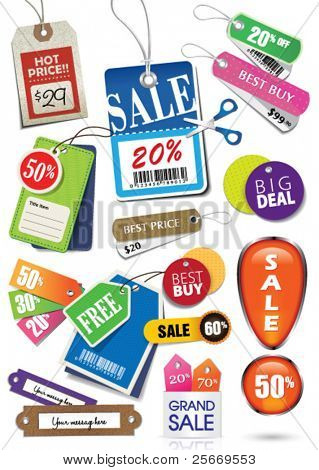 various price tags & labels