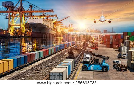 Global Business Of Container Cargo Freight Train For Business Transport And Import-export Commercial