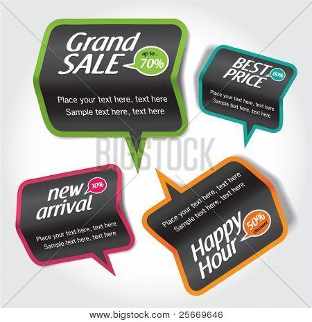 sale & discount tag, speech bubbles