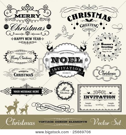 Vintage christmas images illustrations vectors free bigstock christmas decorative set stopboris Gallery