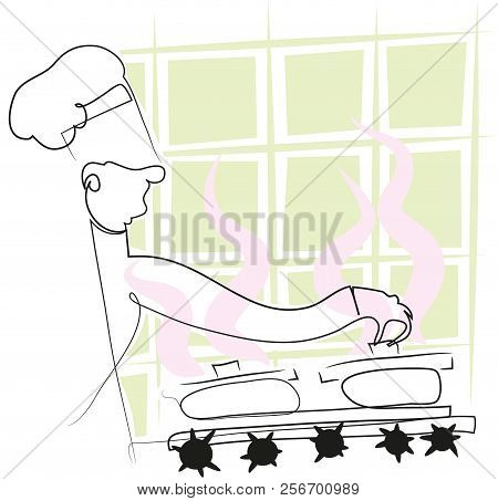 Simple Line Chef  Chef Holding A Pot On The Cooker. Illustration Of Simple Line Chef.