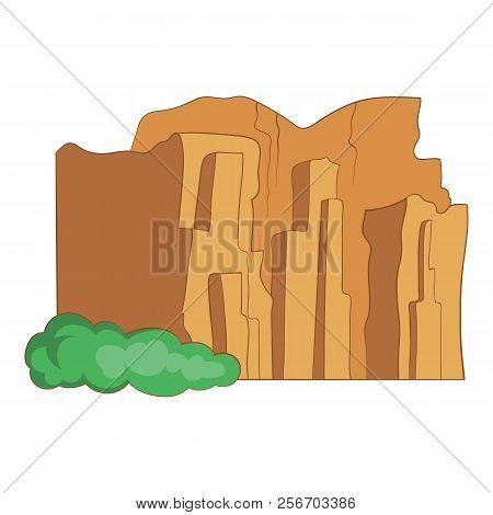 Sandstone Cliffs, Talampaya National Park Icon. Cartoon Illustration Of Sandstone Cliffs, Talampaya