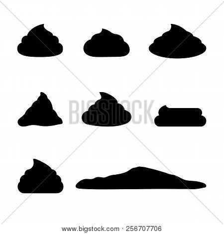 Set Of Simple Feces Icon. Black Poop Simbol. Fecals Sign.