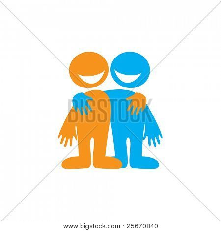Symbol of friendship. Happy friends. Vector sign.